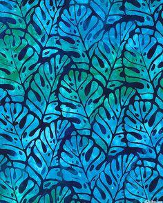 Totally Tropical 4 - Island Fern Batik - Midnight Blue Tropical Background, Turquoise Art, Batik Art, Batik Pattern, Textiles, Floral Prints, Art Prints, Silk Painting, Tile Patterns