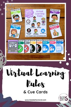 The VIRTUAL LEARNING edition highlights the typical rules used by teachers teaching via remote platforms like Zoom or Google Meet. There is a poster in addition to visual cue cards that break down each of the rules individually.