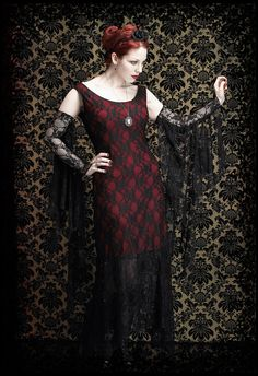 Olivia Gown - Gothic Tea Dress - Long Black Lace Gown with Off Shoulder Neckline, Pointed Skirting the rest of the outfit (LOL) by rosemortem @ Etsy $159  though need to see if the red dress comes with it, sigh