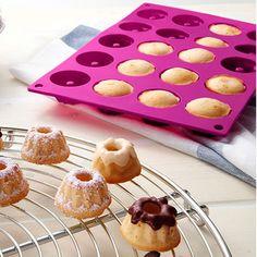 High quality 20 cavity silicone bakeware Savarin shape tableware pudding mould and chocolate tools chiffon cake mold mini pan