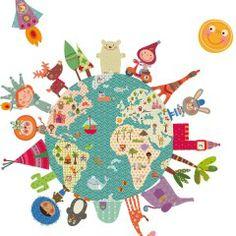 la tierra mapa mundi niños vinilo de tela Decohappy