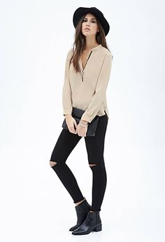 Contrast-Piped Henley Top | FOREVER 21 - 2000129961