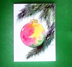 Watercolor card, ( No. 101), Christmas ornament, greeting card, Christmas, ornament, holiday, original art. $4.75, via Etsy.