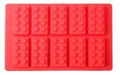 FORMA DE GELO E CHOCOLATE LEGO VERMELHO