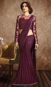 Maroon Color Shaded Net and Fancy Sari #designerssareecollection#designersareecom Maintain your individuality clad in this maroon color shaded net and fancy sari. The lace work appears to be like chic and best for any occasion. Upon request we can make round front/back neck and short 6 inches sleeves regular saree blouse also. USD$ 132(Around £ 91 & Euro 100)