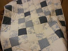 Baby Quilt Blue Toile Children Hearts Blue Cream White