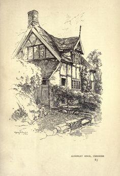 Public Domain Drawing Of An English Tudor House