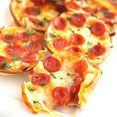 Make these healthy mini tortilla pizzas in a baking tin! #healthyrecipes #pizzarecipes #everydayhealth | everydayhealth.com