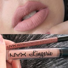 @nyxcosmetics lip liner in nude suede shoes, with @nyxcosmetics lip lingerie in lace details