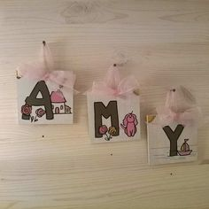 AMY Wood MDF 3 Wooden Letters organza by bluepeppertime on Etsy