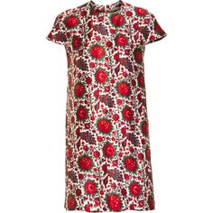 Balenciaga Red Indian Dress - Rouge size 42 ($519) ❤ liked on Polyvore featuring dresses, clothing & accessories, women, balenciaga dress, balenciaga, cap sleeve dress, floral print dress and red floral dress