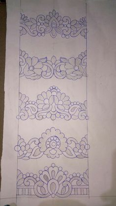 Border Embroidery Designs, Cutwork Embroidery, Embroidery Stitches, Embroidery Patterns, Machine Embroidery, Mehndi Art Designs, Pencil Design, Beadwork Designs, Free Hand Drawing