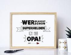 Superhelden Opa -  Druck von Formart von FORMART - Zeit für Schönes! auf DaWanda.com