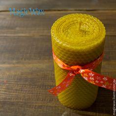 Купить Свеча из вощины под заказ (ваши размеры) - желтый, воск, воск пчелиный