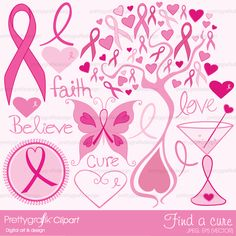 16 breast cancer awareness clipart perfect for fundraisers, parties, invitations, cards and scrapbooking.