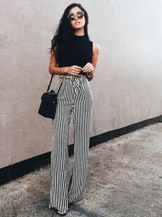Image shared by just trendy girls. find images and videos about striped palazzo pants, fashion and outfit on we heart it - the app to get lost in what you Fashion 2018, Look Fashion, Fashion Beauty, Fashion Outfits, Womens Fashion, Fashion Tips, Fashion Trends, 90s Fashion, Party Fashion