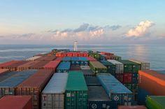 Container Ship entering the open Sea