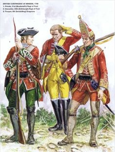 British Troops at the Battle Of Minden.  fought on 1 August 1759, during the Seven Years' War. An army fielded by the Anglo-German alliance commanded by Field Marshal Ferdinand, Duke of Brunswick, defeated a French army commanded by Marshal of France Louis, Marquis de Contades. In Britain, the victory was considered one of several fortuitous events that constituted the Annus Mirabilis of 1759.