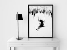 Playground, Girl Swinging, Girls Wall Art, Girl on Swing, Bedroom Decor , Surreal Art, Black and White Art, Acrylic Painting, Art Prints by ArtByJoonas