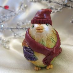 Whimsical Christmas Ornament Winter Bird in Red by YoungCreative, $28.00