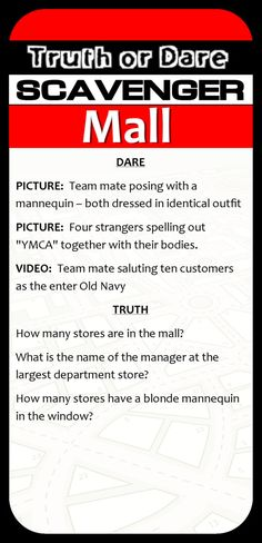 Teen Scavenger Hunt at the Mall 13th Birthday Parties, Birthday Party For Teens, Birthday Games, Teen Birthday, Birthday Ideas, 14th Birthday, Birthday Stuff, Party Kit, I Party