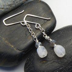Labradorite & Moonstone Gemstone Necklace & Earring Set on Etsy www.mymusejewelry.com