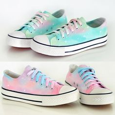 Colors: pink, green http://www.storenvy.com/products/8940693-harajuku-star-canvas-shoes-gradient