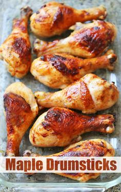 Sticky, buttery, and boasting the perfect flavor combination of savory and sweet, these maple chicken drumsticks are a huge hit whenever I make them. Baked Chicken Legs, Chicken Leg Recipes, Fried Chicken, Healthy Food Blogs, Healthy Recipes, Healthy Dinners, Drumstick Recipes Oven, Maple Chicken, Chicken Drumsticks