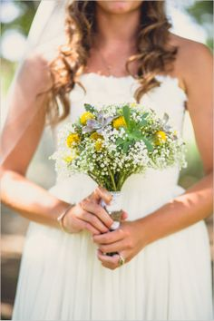 white yellow and succulent bouquet #succulentbouquet #rusticwedding #weddingchicks http://www.weddingchicks.com/2014/01/06/trendy-spiritual-wedding/