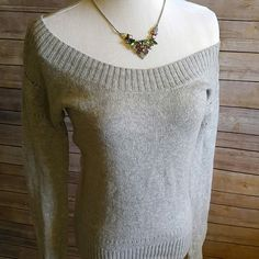 American Eagle wide neck gray sweater Wide scoop neck son the sweater can be worn off one shoulder of desired. Preloved but great condition.  Wool, viscose, nylon, acrylic. American Eagle Outfitters Sweaters Crew & Scoop Necks