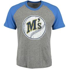 Men's Seattle Mariners Majestic Threads Heather Gray/Royal Cooperstown Collection Raglan Tri-Blend T-Shirt