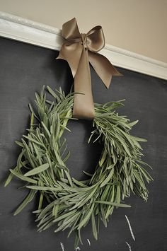 Herb wreaths! Great way to preserve herbs and decorate with what you have around the house.....to say nothing about the yummy smells of fresh herbs!