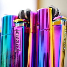 In a groovy mood today 💜💙 Did you know when you light up clipper lighters and turn it to the side it boosts the flame? Clipper Lighter, The Clipper, Cool Lighters, Cigar Lighters, Rainbow Kitchen, Rainbow Metal, Bic Lighter, Origami Decoration, Pipes And Bongs
