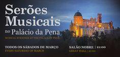 """Inspirado na atmosfera dos saraus promovidos no Palácio da Pena pelo rei-artista D. Fernando II, o ciclo """"Serões Musicais no Palácio da Pena"""" apresenta quatro concertos, que se realizarão aos sábados à noite, de 4 a 25 de março, às 21h00. O Salão Nobre do Palácio será, tal como no tempo em que D. Fernando (1816-1885) ali viveu, o palco escolhido para estes eventos, preenchidos com música de câmara, para piano solo e repertório de canto do século Romântico (XIX), tal como era predil..."""