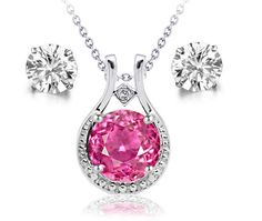 6.03Ct Round Cr Pink Sapphire & Diamond Pendant & Stud Earrings Set W Chain .925