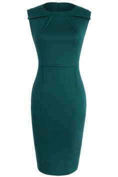 Chic Round Collar Sleeveless Solid Color Skinny Women's Dress