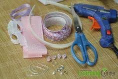 materials and tools for making purple ribbon bow headband