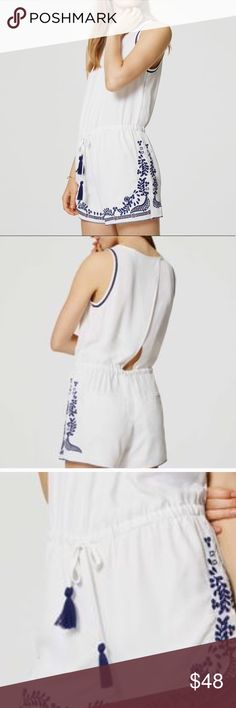 Loft white romper with blue details & cutout back Worn once and this is so cute! And comfy! Especially if you've got a sunburn! The blue accents have little cutouts on the shorts. I can take exact measurements if needed! LOFT Pants Jumpsuits & Rompers