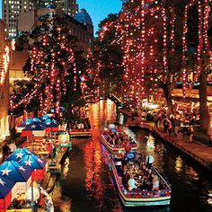The San Antonio Riverwalk. It's a wonderful place, home to the Alamo. You can stay at the Hilton Palicio del Rio. (Get a riverside room)