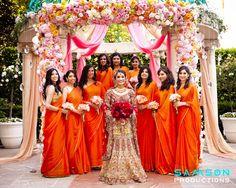 Also - marigold / magenta / white / teal scheme Bridesmaid Saree, Indian Bridesmaids, Bridesmaid Outfit, Brides And Bridesmaids, Orange Bridesmaids, Desi Wedding, Wedding Bride, Farm Wedding, Wedding Ideas
