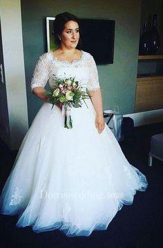 Half Sleeves Lace Bodice Appliques Tulle Fluffy Skirt Plus Size Wedding Dress - Dorris Wedding