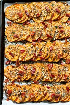 These roasted sweet potatoes are definitely on the savory side and you're going to love them!