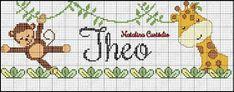 Cross Stitch Charts, Cross Stitch Designs, First Birthday Party Themes, Alphabet, C2c, Safari, Giraffe, Embroidery, Pattern