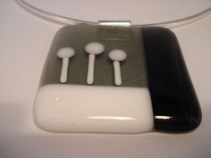 Fused glass pendant black and white by Stilling on Etsy, €16.50