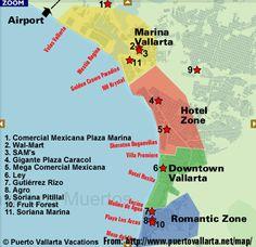 Map of the supermarket locations in Puerto Vallarta Vacation List, Family Vacation Spots, Family Vacation Destinations, Mexico Vacation, Mexico Travel, Family Vacations, Cruise Mexico, Cruise Vacation, Disney Cruise