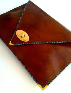 Brown leather clutch / Camel leather bag / Women business bag