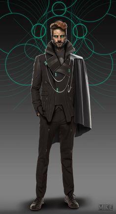 Fragments of a Hologram Dystopia. Entiendo  que los altos cargos de la Thunder Guard también lo son de la corporación a la que pertenecen, así que los veo como personajes bien vestidos a la moda de su tiempo.