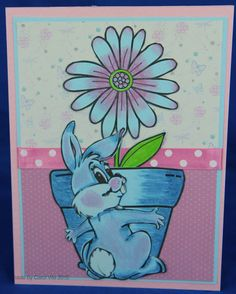 Images from Crackerbox Palace, printed on blue card and coloured with Promarkers to fit a challenge.