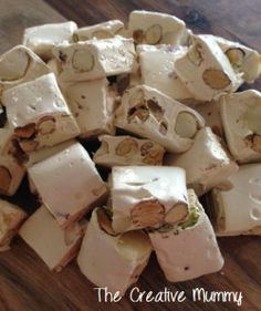 Today I made Nougat for the first time. The reason for making the nougat is actually for another recipe I want to try called Thermomade Toblerone by The Road to Loving my Thermomix. This nougat was… Xmas Food, Christmas Cooking, Thermomix Desserts, Dessert Recipes, Egg White Recipes, Bellini Recipe, Confectionery, Christmas Treats, Toblerone
