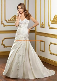 Elegante Brautkleider aus Satin A-Linie mit Applikation 2013